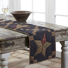 "ARLINGTON 48"" Table Runner Rustic Farmhouse Quilted Patchwork Star Blue Plaid"