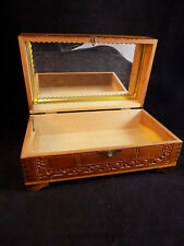 WOODEN JEWELRY BOX Engraved hinged pine keepsake with mirrored lid 10x6x4
