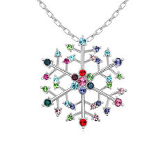 18K White Gold Plated Made with Swarovski Elements Snowflake Frozen Necklace