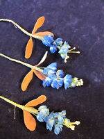 """Vintage Millinery Flower 5/8"""" Rich Blue 3 Pc Lot for Hat Wedding + Hair NM6"""