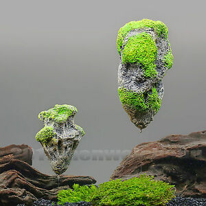 aquarium fish tank decorate artificial polyresin elegant floating rock - 3 sizes