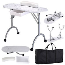 White Manicure Nail Table Portable Station Desk Spa Beauty Salon Equipment New