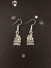 Silver Fairy Castle Earrings. Vintage Style Dangly Charm Earrings.