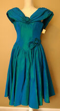 80s Formal Dress 3 4 XS Zum Zum Teal Irridescent NOS Punk Glam Homecoming