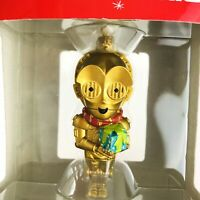 Hallmark Disney Star Wars C3PO Ornament Holding Gift Big Head Christmas 2015 NEW