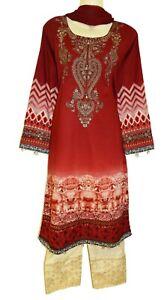Lawn Maroon Embroidery Dress Kurta Shalwar Kameez Churidaar Suit Bollywood Asian