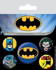 Button Badge 5er Pack BATMAN - Retro Logo, Joker DC Comics 1x38mm & 4x25mm NEU