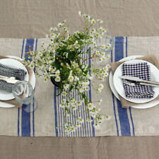 100% Stone Washed Flax Linen Table Runner in striped French Cottage style