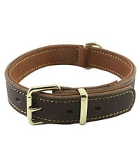 """Genuine Leather Dog Collar, Brown, Large, Heavy Duty, 18.4""""-22.8"""", New"""