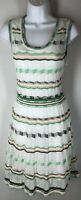 NWT M MISSONI NEW $675 Chevron Cream Peach Green Sleeveless Knit Dress 42 6