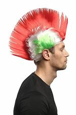 Wig Fan Wig IRO Mohican Punk Green White Red Italy Italia Football xr-012