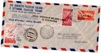 BUSTA ITALIA PRIMO VOLO SPECIALE LUCCA-MILANO 1947 ITALY FIRST FLIGHT COVER