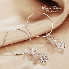 18K White Gold Plated Simulated Diamond Sparkling Cluster Silver Hoop Earrings