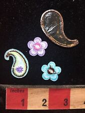 4 Piece Patch Bling Decoration Collection - Flowers & Teardrop Shapes 76V4