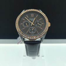 Pulsar Pp6008 Women's Dress Crystals/bezel Brown Dial Day & Date Leather Strap