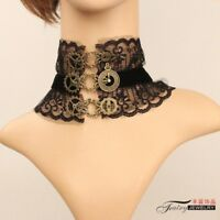 Vintage Victorian Gothic Steampunk Gear Lace Choker Necklace Black Lace Choker