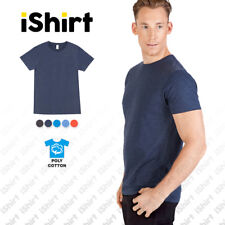 MENS T-SHIRT POLY COTTON I PLAIN BLANK CASUAL MARL TEES I SLIM FIT I S-3XL