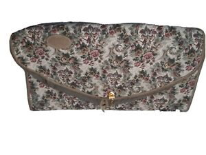 Vintage French Company  Garment Bag Travel Bag Gray Rose Tapestry Light Weight