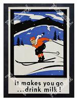 Historic It Makes You Go...Drink Milk! Advertising Postcard 2