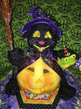OOAK Halloween Fiber Optic Color Changing Witch Cat in Jack O Lantern Pumpkin