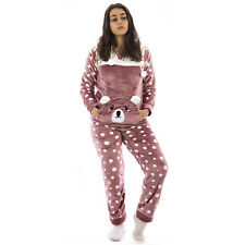 Pigiama tuta donna homewear invernale in caldo pile coral con polsini  0DIPIG113