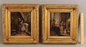 Antique 19thC Oil Paintings Grandmother & Children Knitting Yarn Spinning Wheel