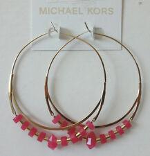 Michael Kors Gold Tone Pink Agate Beaded Whisper Hoop Earrings NWT Retail $115