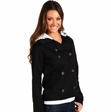 $85 HURLEY Metal Trench Removable Hoodie Black Mulisha Watson Coat Top Jacket