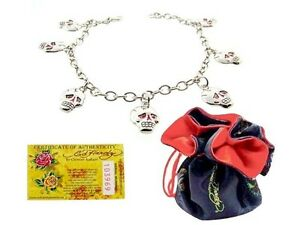 Authentic Stainless Steel Ed Hardy Skull Charm Bracelet Unique Rare Very Nice