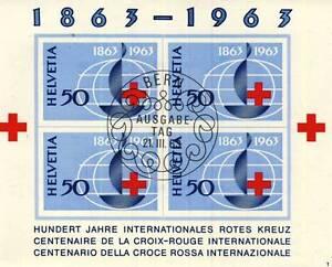 TIMBRE BLOC SUISSE OBLITERE N° 19  CENTENAIRE DE LA CROIX ROUGE
