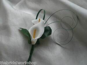 Wedding Tiny Groomsman Page Babies Boy Double Calla Lily Buttonhole Ring Bearer