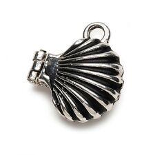 Seashell Antiqued Silver Sea Shell Prayer Box Locket Charm or Pendant 1 piece