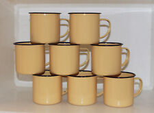 8er Pack Emaile Tasse Emaille Kaffee Becher Camping Retro Metall hellgelb B-Ware