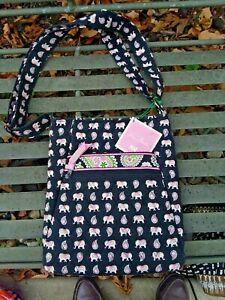 Vera Bradley Hipster Crossbody Bag Purse in Pink Elephants NWT Non Smoking