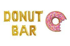 "DONUT BAR Letter Balloons - 16"" Gold - 36"" Donut Balloon - Donuts Sign - US SHIP"