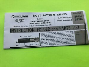 Early REMINGTON ARMS MODELS 591M & 592M RIFLE OWNERS MANUAL 5MM RIMFIRE MAGNUM