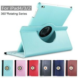For Apple iPad 2 3 4 Smart Cover 360º Rotating PU Leather Folio Cover Stand Case