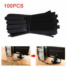 100Pcs Reusable Black Cable Cord Nylon Strap Hook Loop Ties Tidy Organiser**