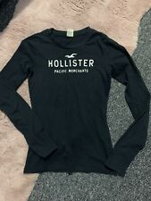 Womens Size Small Black Tight Top Hollister Long Sleeved Round Neck