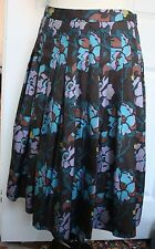 SAKS Fifth Avenue 100% Silk Floral Pleated Full Flared Skirt 4 Made in USA