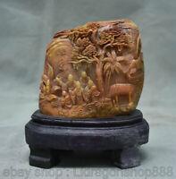 """5.6 """"chinois naturel shoushan pierre sculpture colline arbre shanzi humain sceau"""