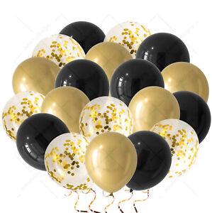 "12""X30 Gold, Black Balloons Glitter Gold Confetti Ballon Baby Shower Bday Balon"