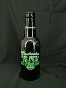 2001 St Patricks Day Budweiser Bottle 15 inch Brown Glass Empty
