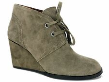 Lucky Brand Women's Seleste Lace-Up Wedge Booties Brindle Suede Size 7.5 M