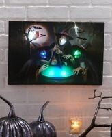 Lights and Sounds Trio of Witches Over Cauldron Halloween Canvas Wall Art