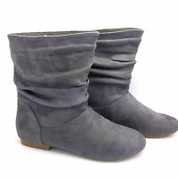 WOMEN'S LADIES GREY FAUX SUEDE FASHION PIXIE ANKLE BOOTS FLATS SHOES SIZE FB-490