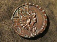 "Antique Vintage Victorian Metal Picture Button Winged Figure 1 3/8"""
