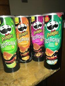 Pringles All 4  Scorchin Flavors  Sour Cream & Onion, BBQ, Chili & Lime, Cheddar