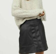 H&M Faux Leather Black Mini Skirt - Size: 14