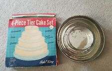 4 piece cake tier baking set vintage Bake King pans retro rounds used condition